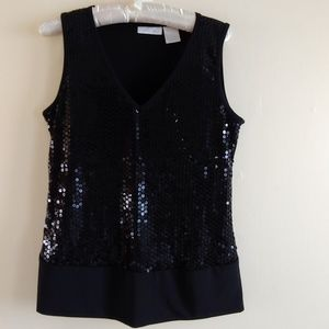 Black Sequined Shell Top